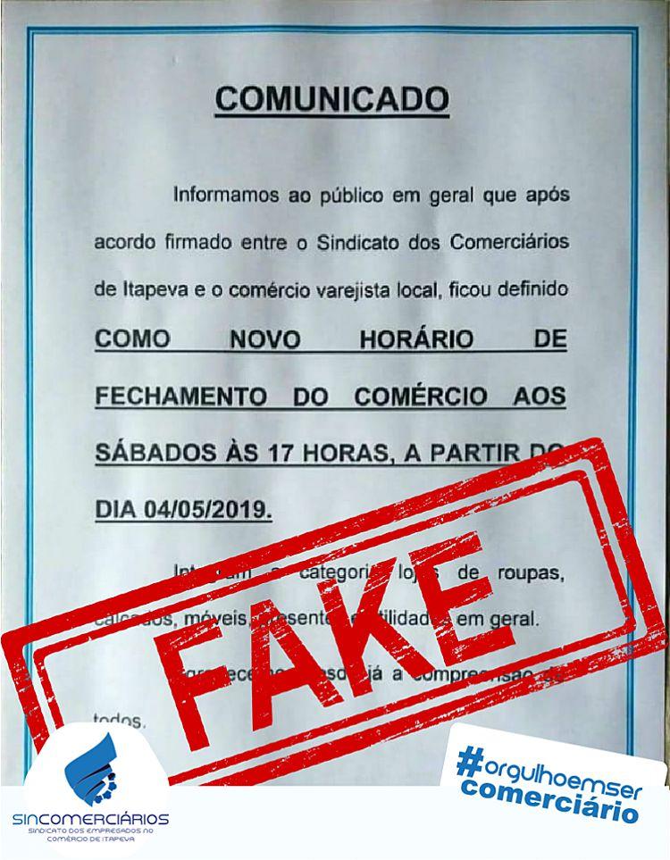 É falso documento sobre a alteração no horário do comércio da região